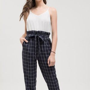 Blu Pepper Contrast Check Tie Belt Jumpsuit